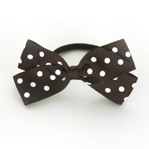 Medium Licorice Polka Dot Hair Elastic