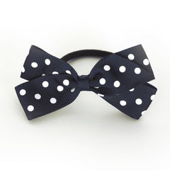 Medium Peacoat Polka Dot Hair Elastic