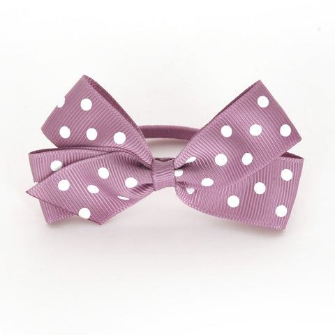 Medium Rosy Mauve Polka Dot Hair Elastic