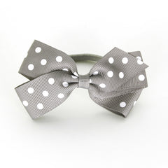 Medium Silver Polka Dot Hair Elastic