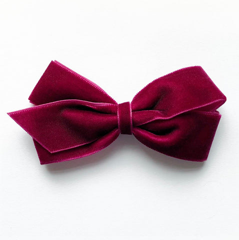Medium Wine Velvet Hair Clip
