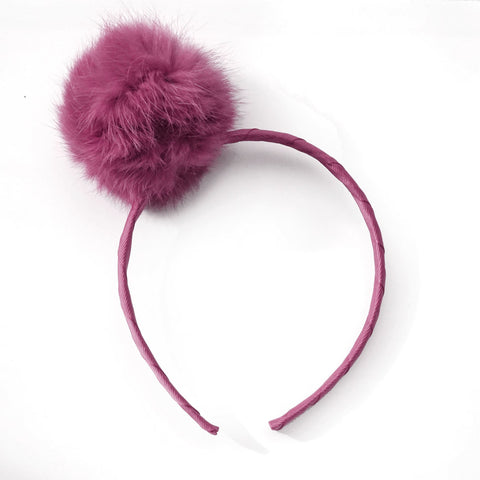 Large Raspberry Rose Pom Pom Alice Band