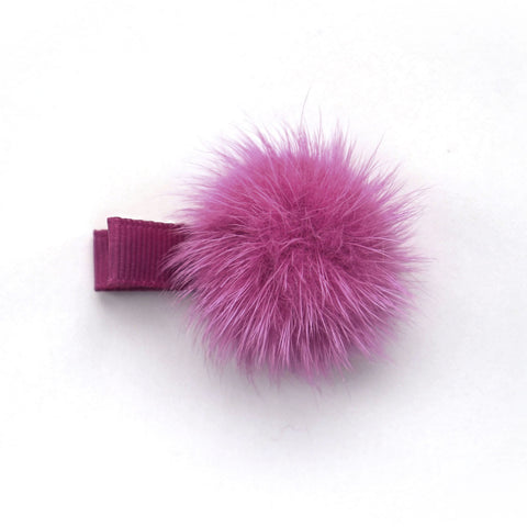 Raspberry Rose Pom Pom Hair Clip