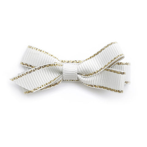 Small Off White Gold Edge Hair Clip