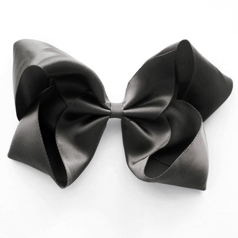Large Charcoal Satin Hair Clip