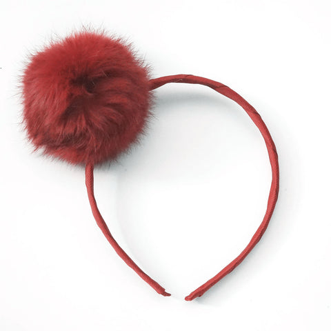 Large Scarlet Pom Pom Alice Band