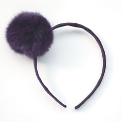 Large Shadow Purple Pom Pom Alice Band