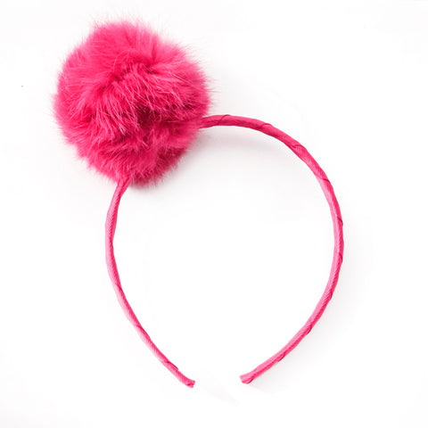 Large Shocking Pink Pom Pom Alice Band