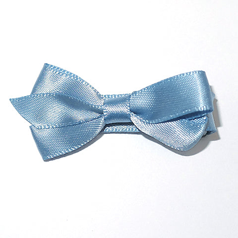 Small French Blue Satin Hair Clip