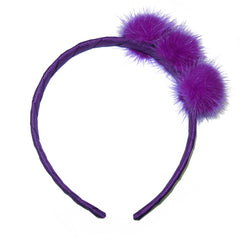 Small Regal Purple Pom Pom Alice Band
