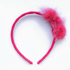 Small Shocking Pink Pom Pom Alice Band