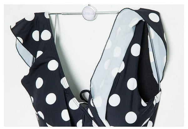 One Piece Ruffle Polka Dot Swimsuit - TheMacLyfAus Leggings