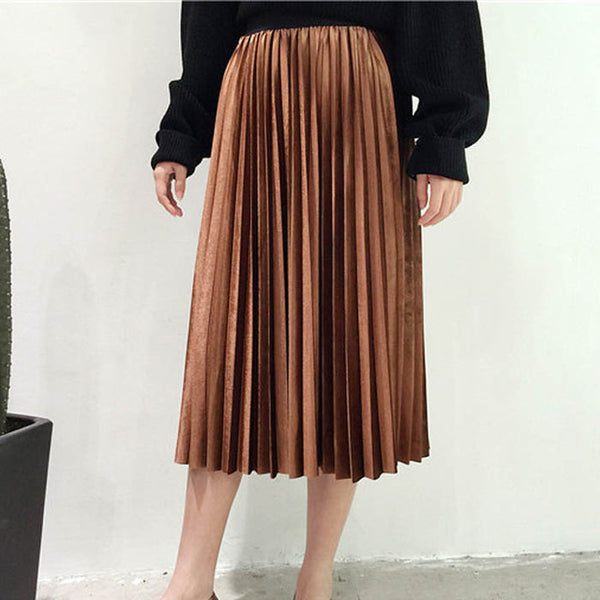 Danjeaner Spring 2019 Women Long Metallic Silver Maxi Pleated Skirt Midi Skirt High Waist Elascity Casual Party Skirt Vintage - TheMacLyfAus Leggings