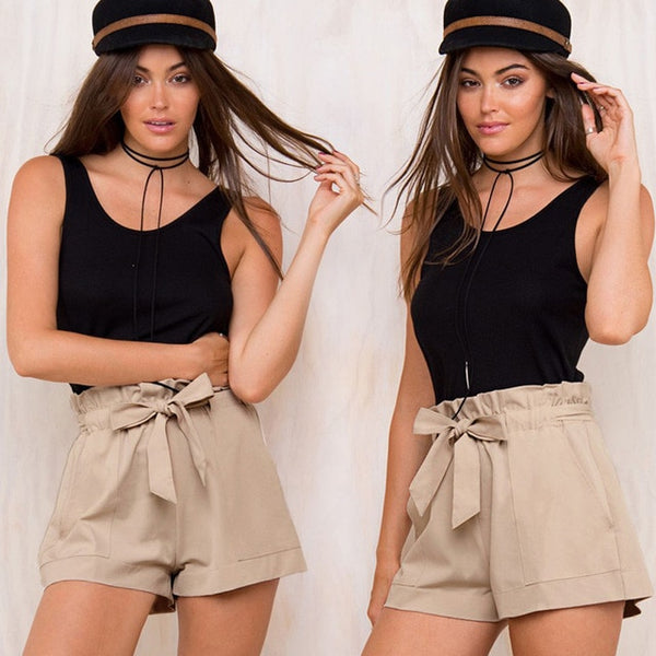 2019 High Waist Summer Shorts - Khaki / S - Bottoms Shorts Women Womens