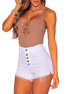 High Waist Summer Button Shorts - White / S - Bottoms Shorts