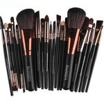 22Pc Makeup Brush Set - Black - Beauty Eyes Face