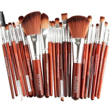 22Pc Makeup Brush Set - Red Glow - Beauty Eyes Face