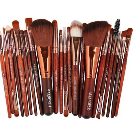 22Pc Makeup Brush Set - Brown - Beauty Eyes Face