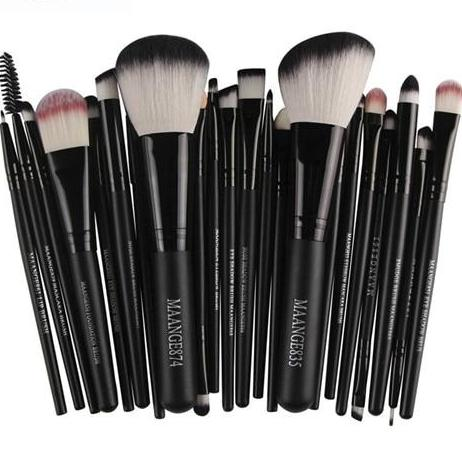 22Pc Makeup Brush Set - Black With White Tips - Beauty Eyes Face