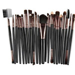 22Pc Makeup Brush Set - Black Brown Tips - Beauty Eyes Face