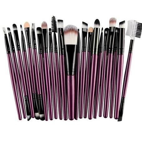 22Pc Makeup Brush Set - Purple - Beauty Eyes Face