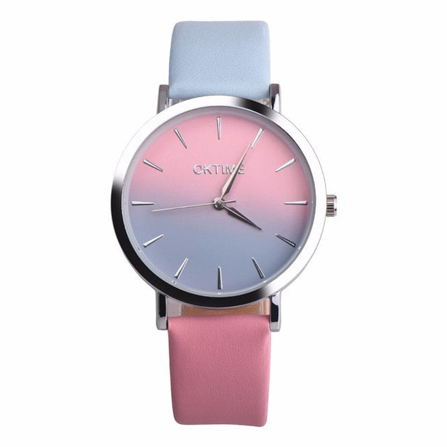 2019 Summer Rainbow Watches - Pink Wash (Silver Rim) - Womens Watch