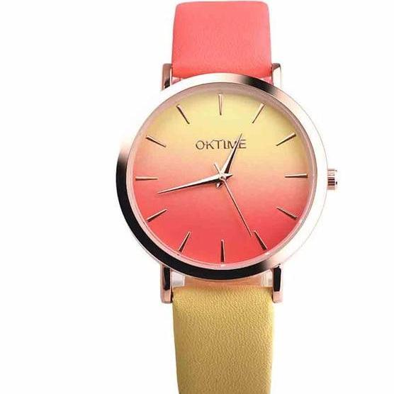 2019 Summer Rainbow Watches - Sunset Yellow (Gold Rim) - Womens Watch