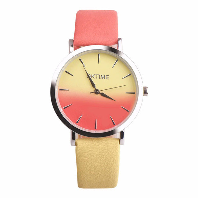 2019 Summer Rainbow Watches - Sunset Yellow (Silver Rim) - Womens Watch