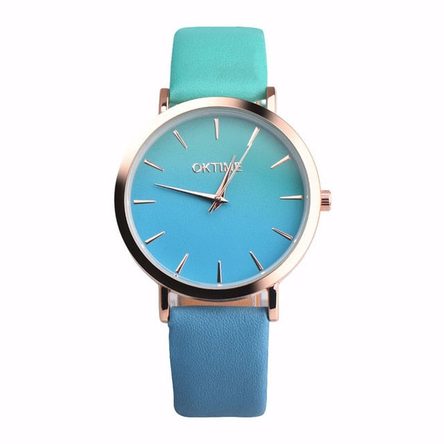 2019 Summer Rainbow Watches - Teal (Gold Rim) - Womens Watch