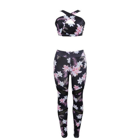 Floral Yoga Set - Bottoms Gym Set Leggings
