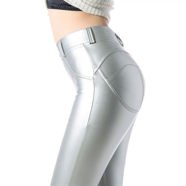 Sexy High Waist Spandex/leather Leggings - Silver / L - Bottoms Leggings Women Womens