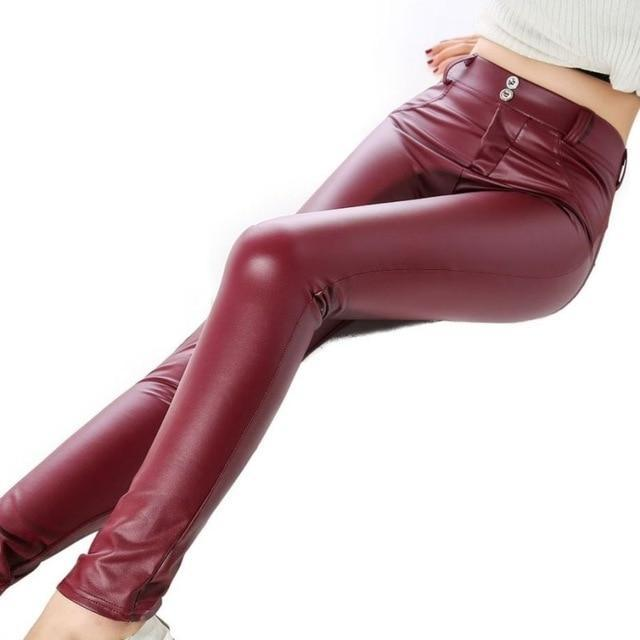 Sexy High Waist Spandex/leather Leggings - Burgundy / L - Bottoms Leggings Women Womens