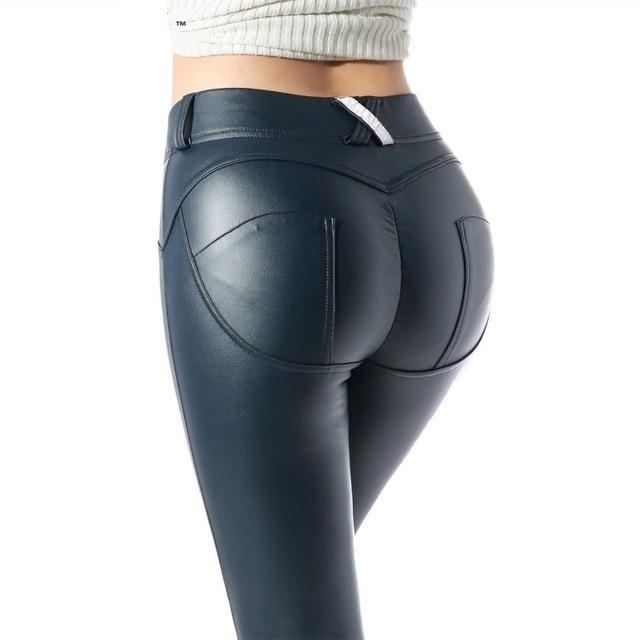 Sexy High Waist Spandex/leather Leggings - Navy Blue / L - Bottoms Leggings Women Womens
