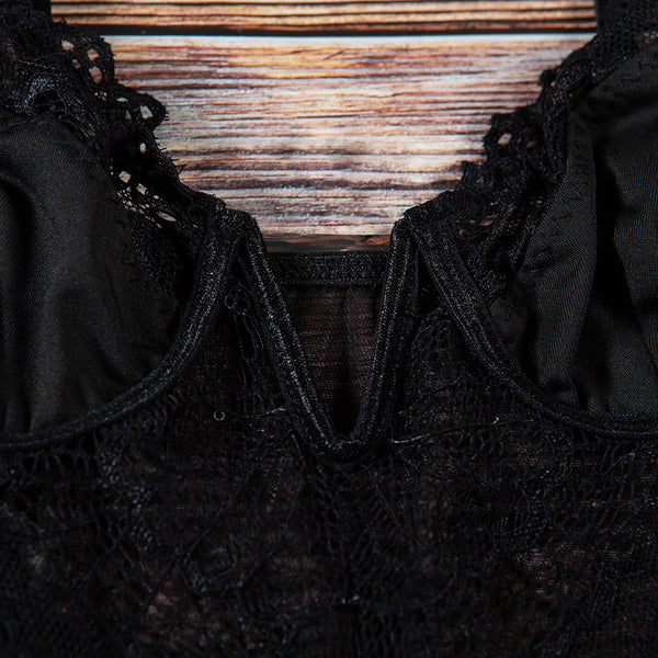Deep V Sexy Lace Bodysuit - TheMacLyfAus Leggings