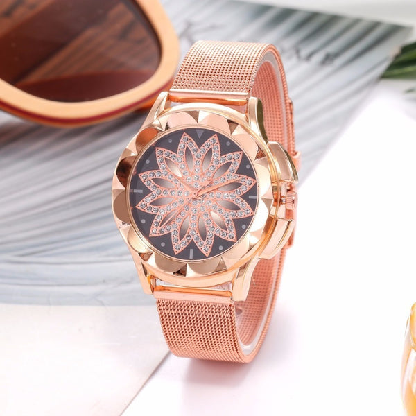 Rose Gold Rhinestone Flower Watch - Womens Watch