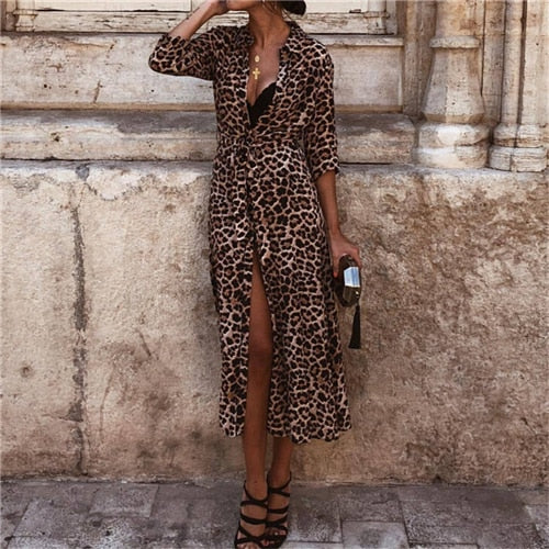Evening Leopard Print Dress - TheMacLyfAus Leggings