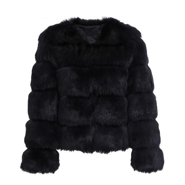 Vintage Faux Fur Coat - Black / S - Jacket Tops Women