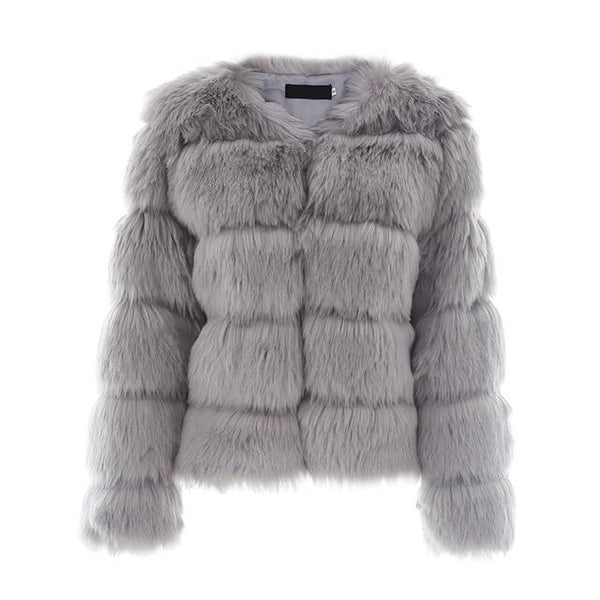 Vintage Faux Fur Coat - Gray / S - Jacket Tops Women