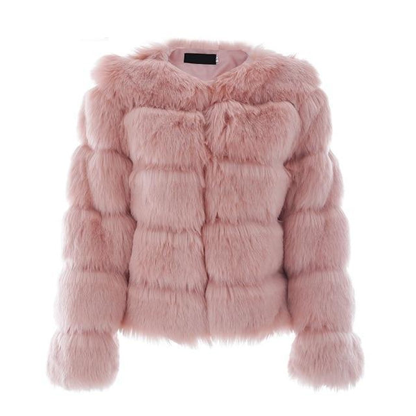 Vintage Faux Fur Coat - Pink / S - Jacket Tops Women