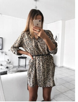 Leopard Print V-Neck Mini Dress - TheMacLyfAus Leggings