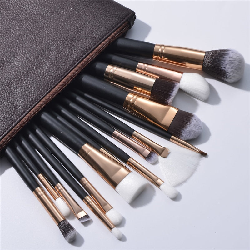 15Pc Deluxe Brush Sets + Free Cosmetic Bag - Beauty Face