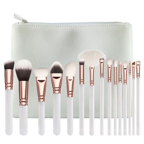 15Pc Deluxe Brush Sets + Free Cosmetic Bag - Deluxe White - Beauty Face