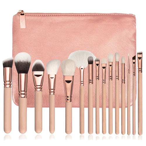 15Pc Deluxe Brush Sets + Free Cosmetic Bag - Nude Pink - Beauty Face