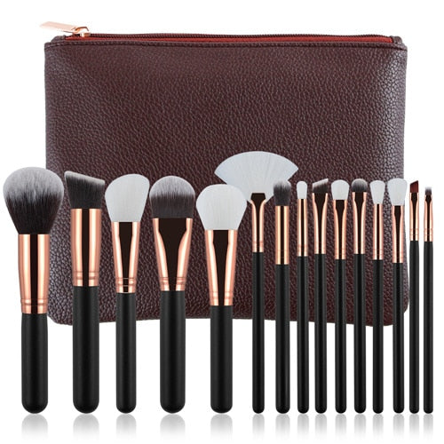 15Pc Deluxe Brush Sets + Free Cosmetic Bag - Earth Brown - Beauty Face