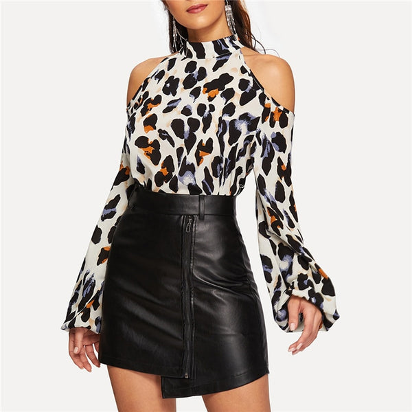 EveryDayGirl Office Leopard Neck Top - TheMacLyfAus Leggings