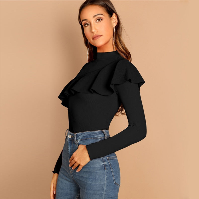 Ruffle Neck Office Top