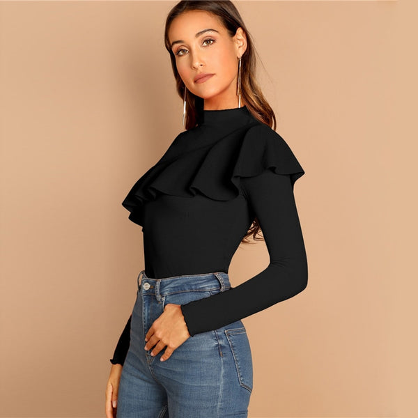 Ruffle Neck Office Top - TheMacLyfAus Leggings