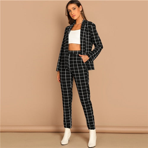 Black Plaid 2 Piece Set