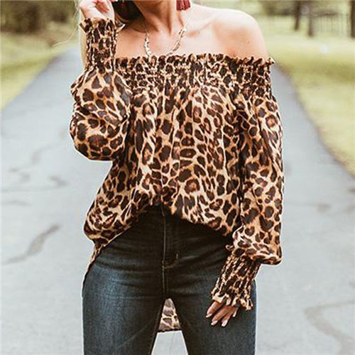 Off Shoulder Leopard Print Top - TheMacLyfAus Leggings