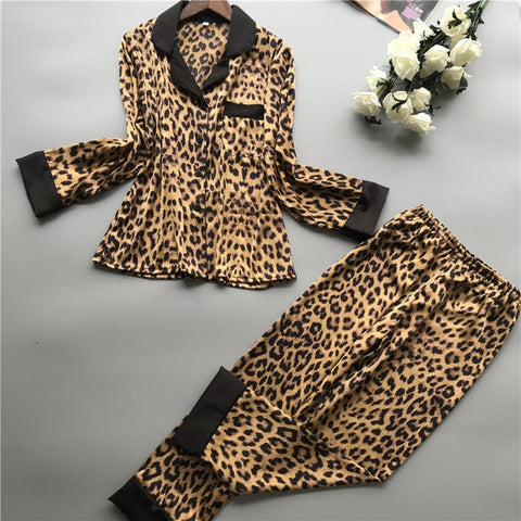 Satin Leopard Print Pj Set - TheMacLyfAus Leggings